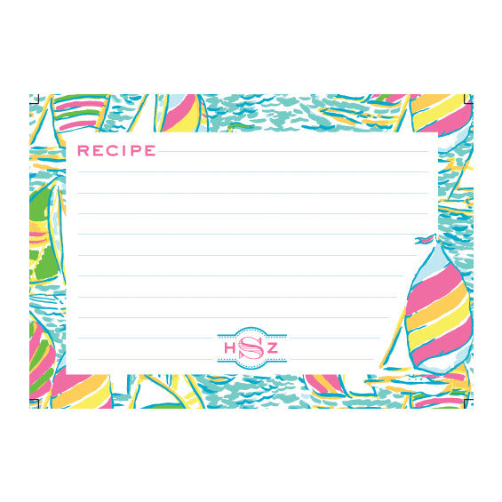 Lilly Pulitzer Personalized Recipe Box - Ugotta Regatta - lifeguard-press - 2