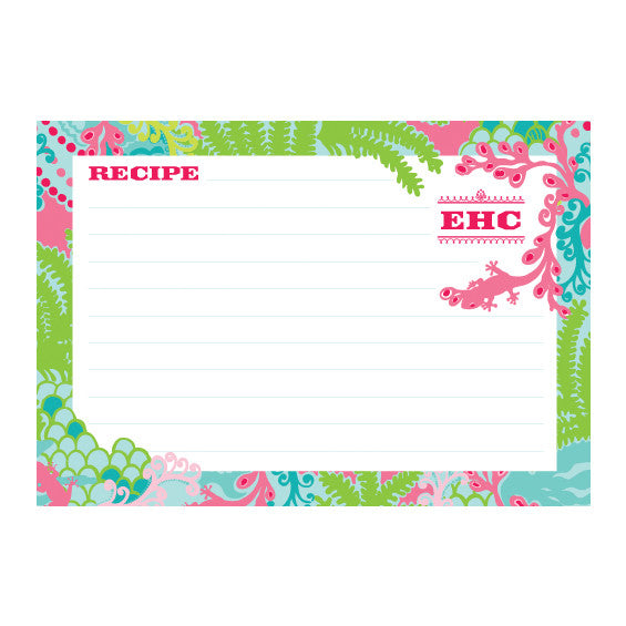 Lilly Pulitzer Personalized Recipe Box - Checking In - lifeguard-press - 2