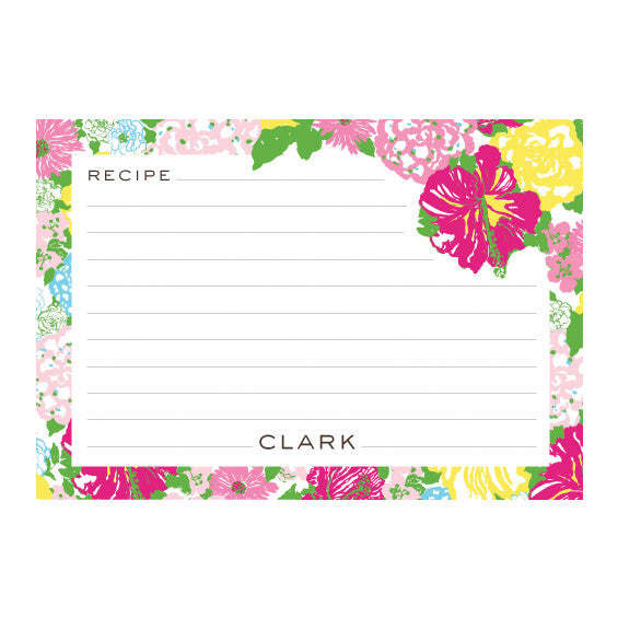 Lilly Pulitzer Personalized Recipe Box - Heritage Floral - lifeguard-press - 2