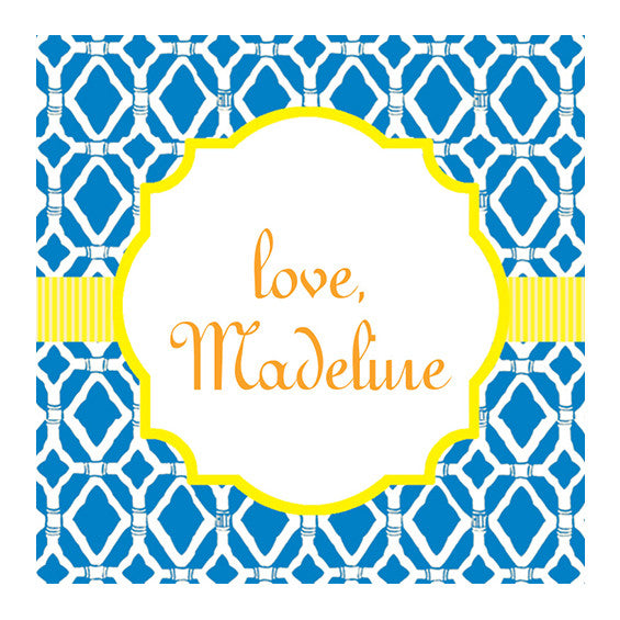 Lilly Pulitzer Personalized Stickers - Bamboo Blue - lifeguard-press
