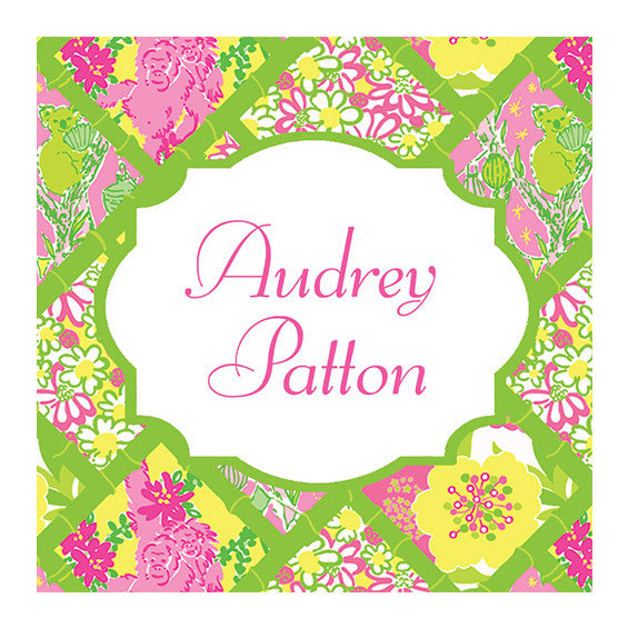 Lilly Pulitzer Personalized Stickers - Bamboo Patch - lifeguard-press