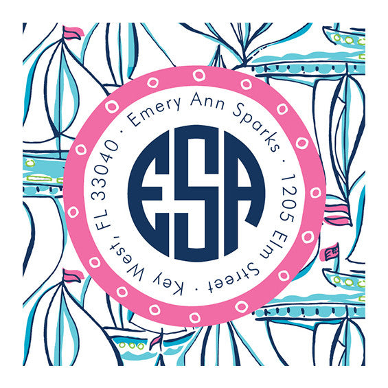 Lilly Pulitzer Personalized Stickers - Docksider - lifeguard-press