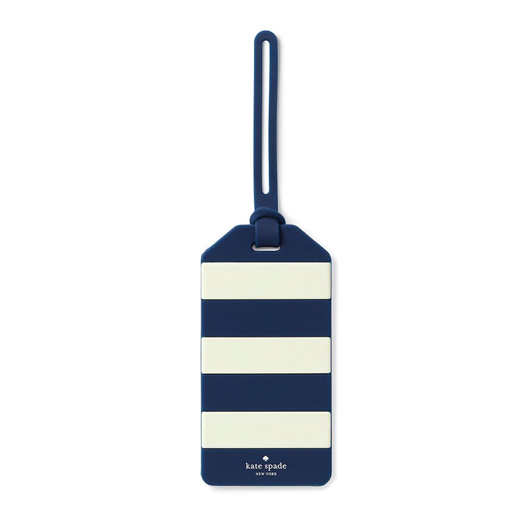 kate spade new york luggage tag - navy rugby stripe - lifeguard-press