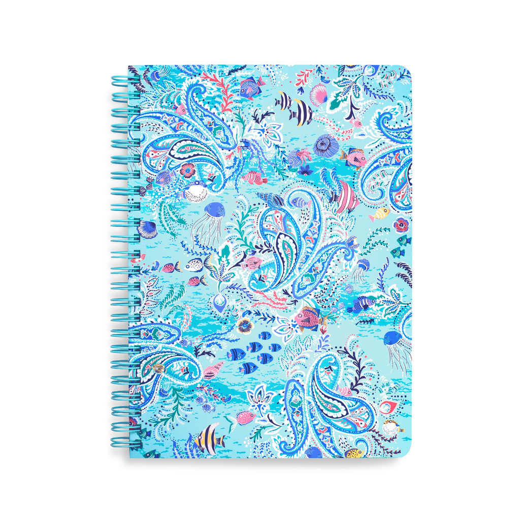 Mini Notebook with Pocket, Paisley Wave