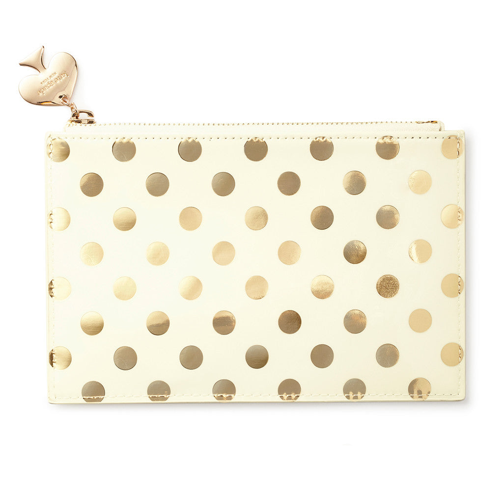 new style 05171 5e3f1 kate spade new york pencil pouch - gold dots
