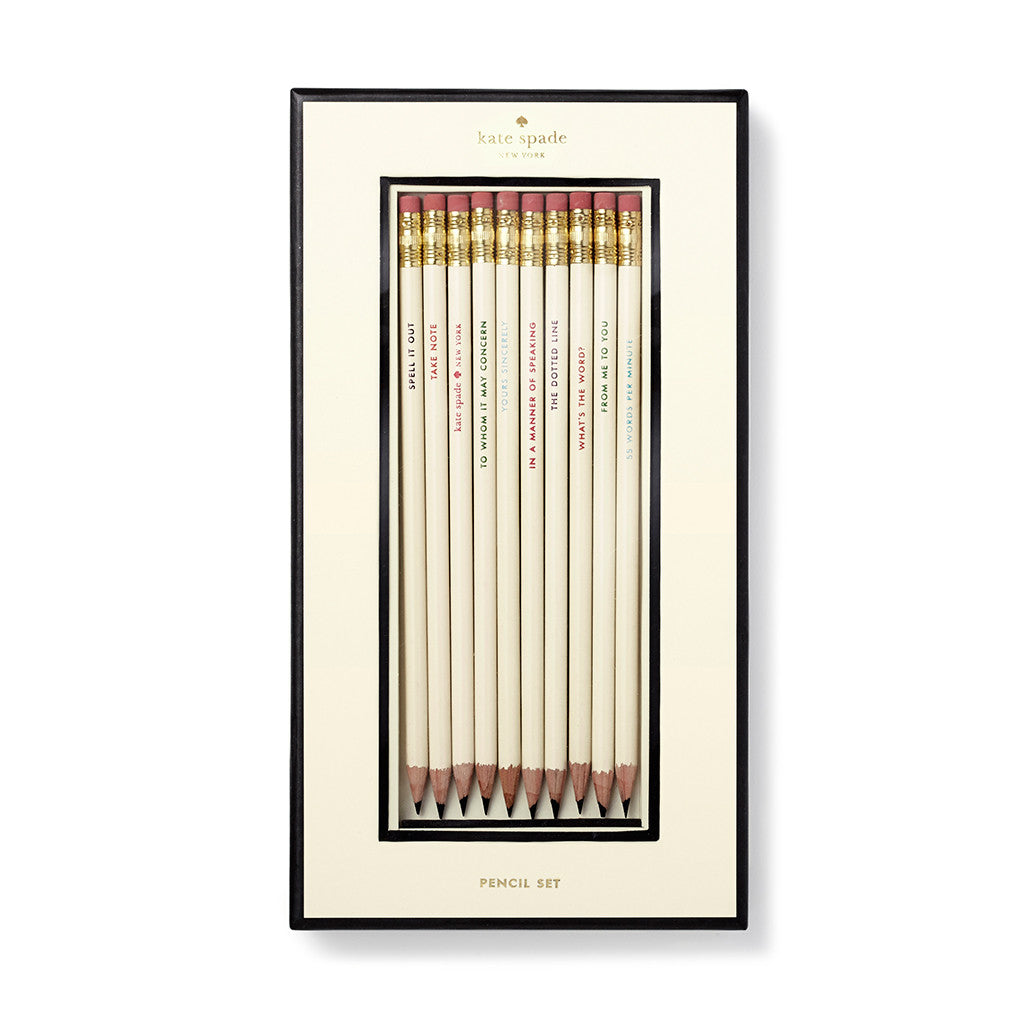 kate spade new york pencil set - what's the word - lifeguard-press