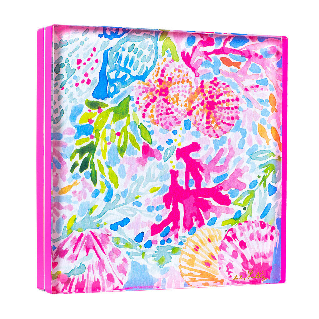 Lilly Pulitzer Acrylic Picture Frame - Coral Cay (Neon Pink) - lifeguard-press - 1