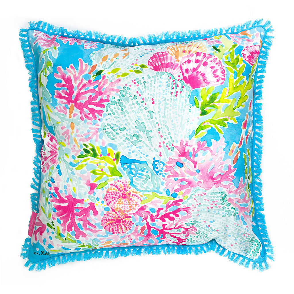 Lilly Pulitzer Large Pillow - Coral Cay - lifeguard-press - 1