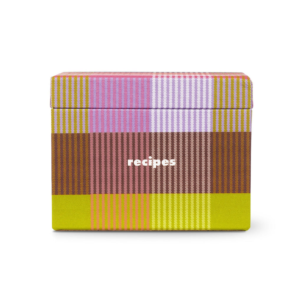 kate spade new york recipe box, rainbow plaid
