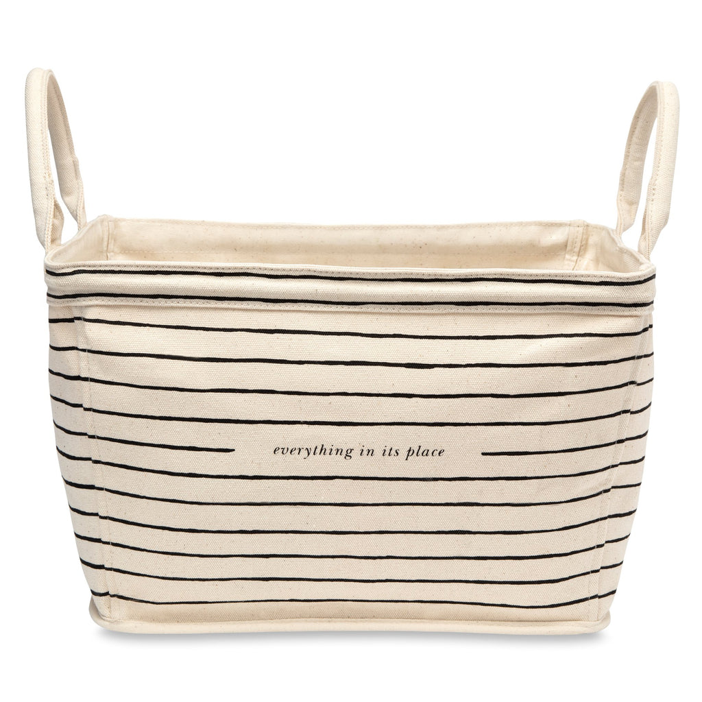 kate spade new york rectangular Canvas Storage Bin, Black Stripe