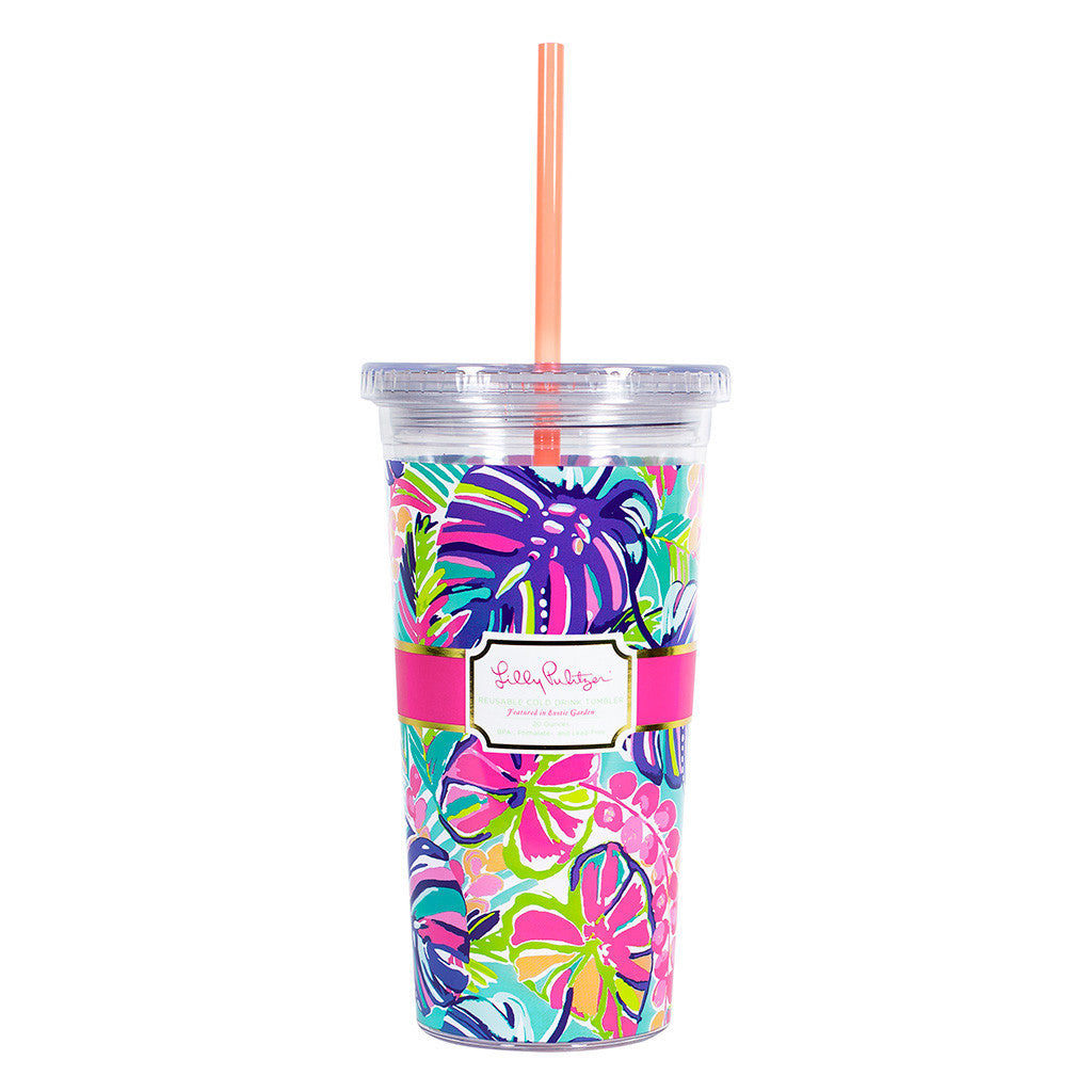 Lilly Pulitzer Reusable Cold Drink Tumbler - Exotic Garden - lifeguard-press - 1