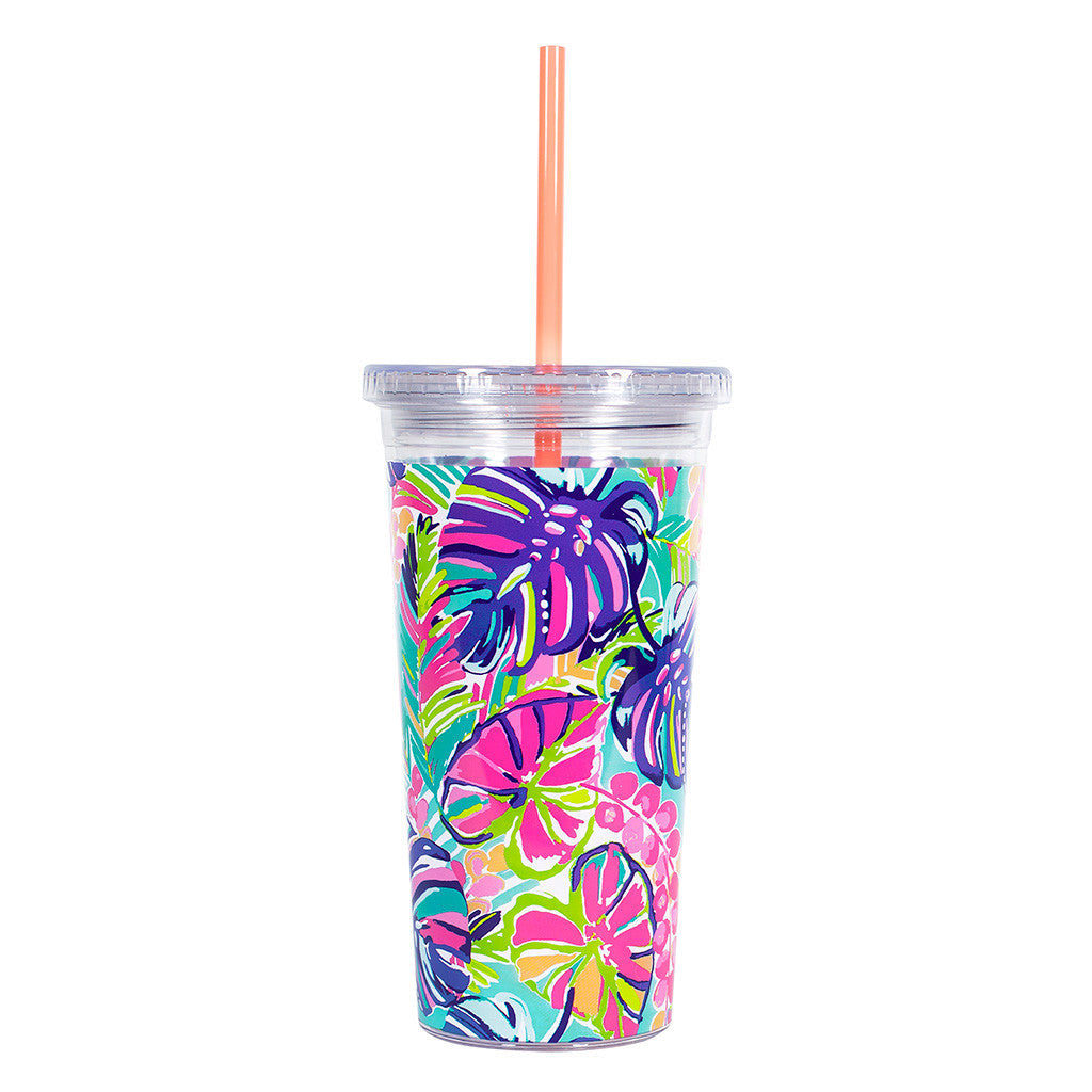 Lilly Pulitzer Reusable Cold Drink Tumbler - Exotic Garden - lifeguard-press - 2