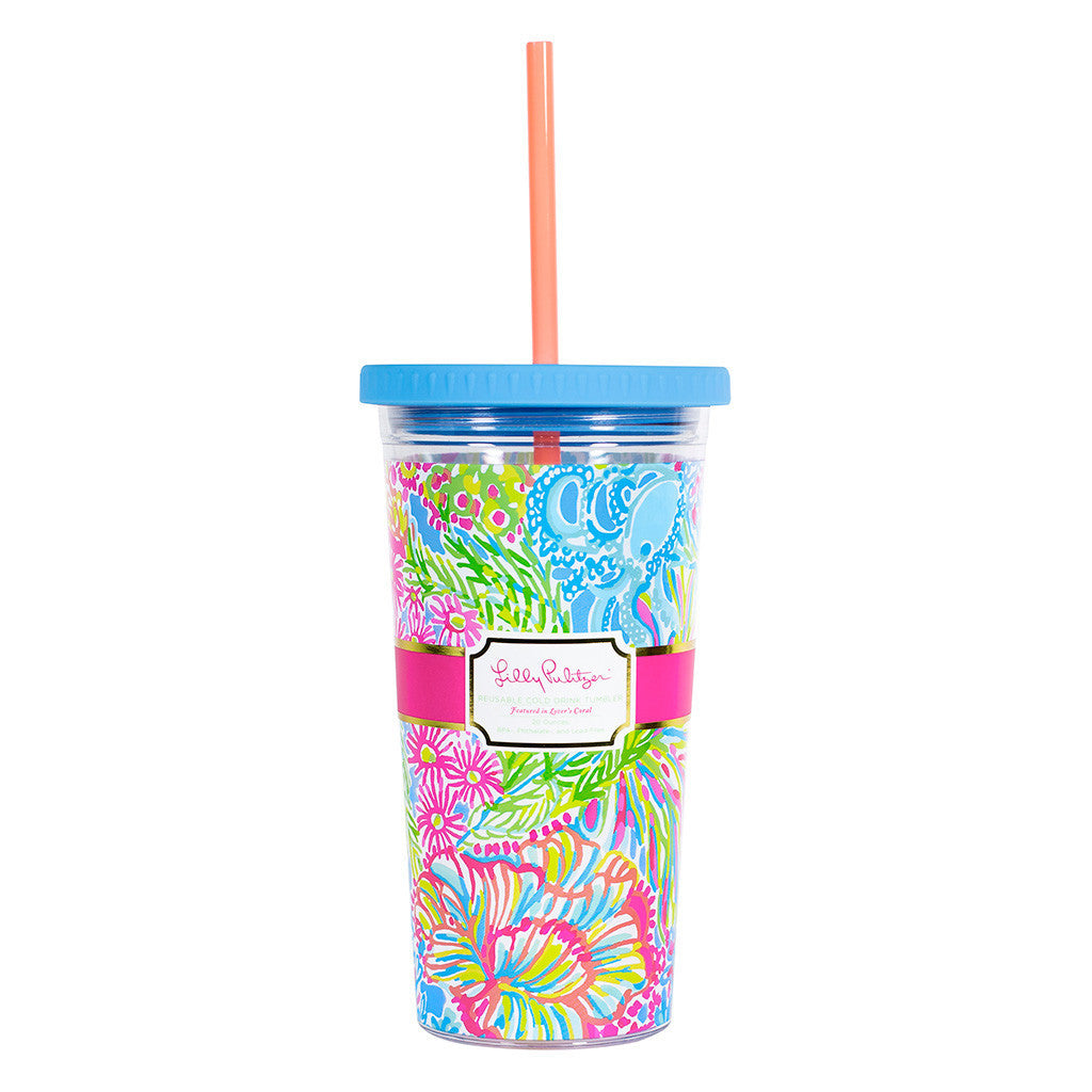 Lilly Pulitzer Reusable Cold Drink Tumbler - Lover's Coral - lifeguard-press - 1