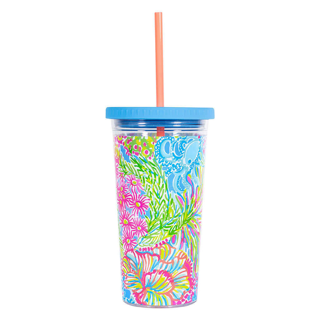Lilly Pulitzer Reusable Cold Drink Tumbler - Lover's Coral - lifeguard-press - 2