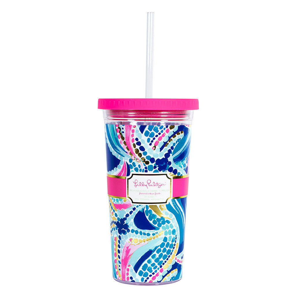 Lilly Pulitzer Reusable Cold Drink Tumbler - Ocean Jewels - lifeguard-press - 1