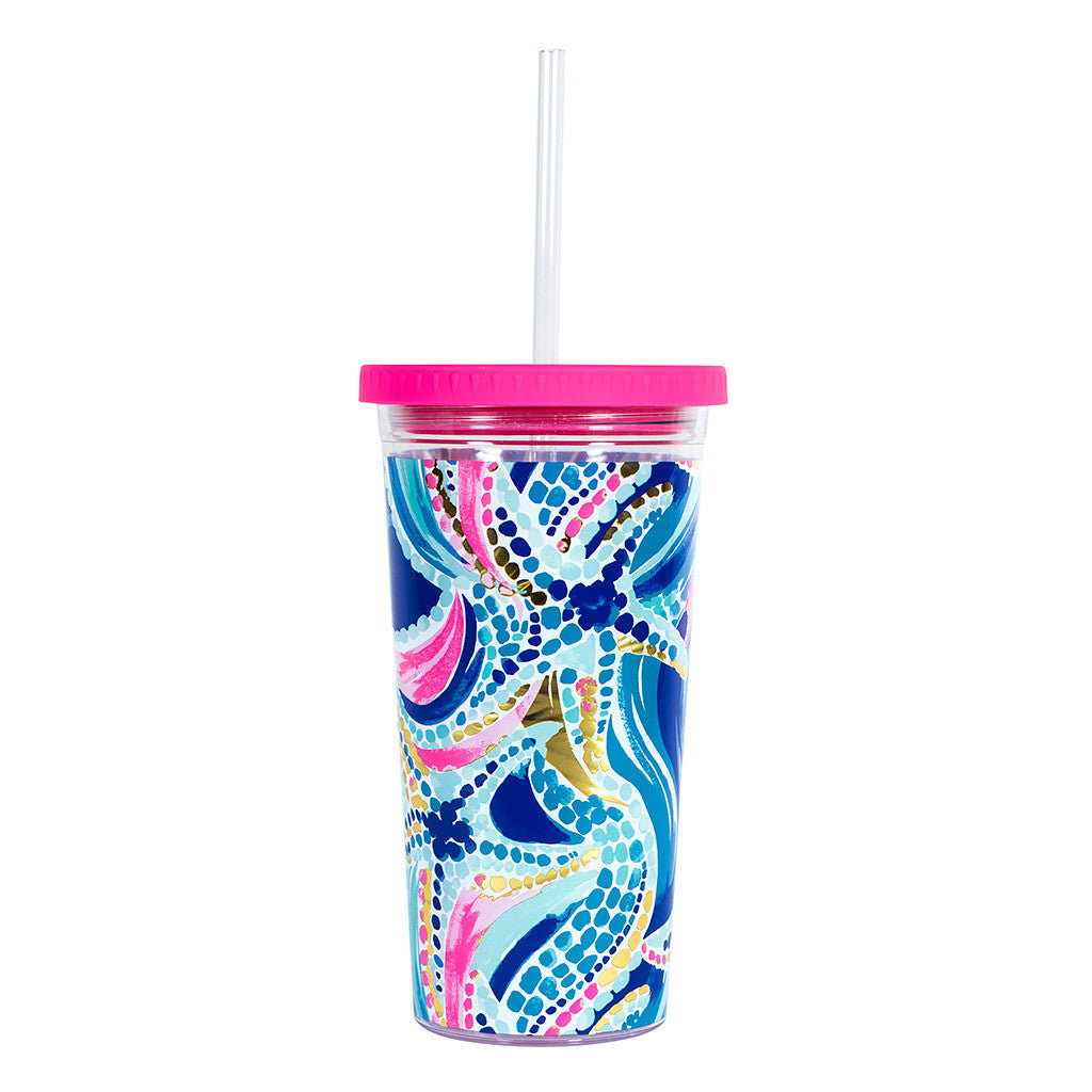 Lilly Pulitzer Reusable Cold Drink Tumbler - Ocean Jewels - lifeguard-press - 2