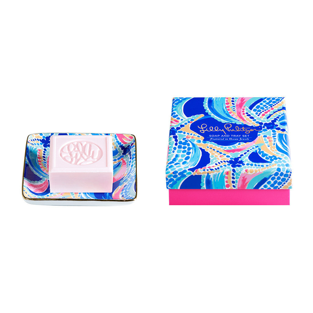Lilly Pulitzer Soap & Tray Set - Ocean Jewels - lifeguard-press - 1