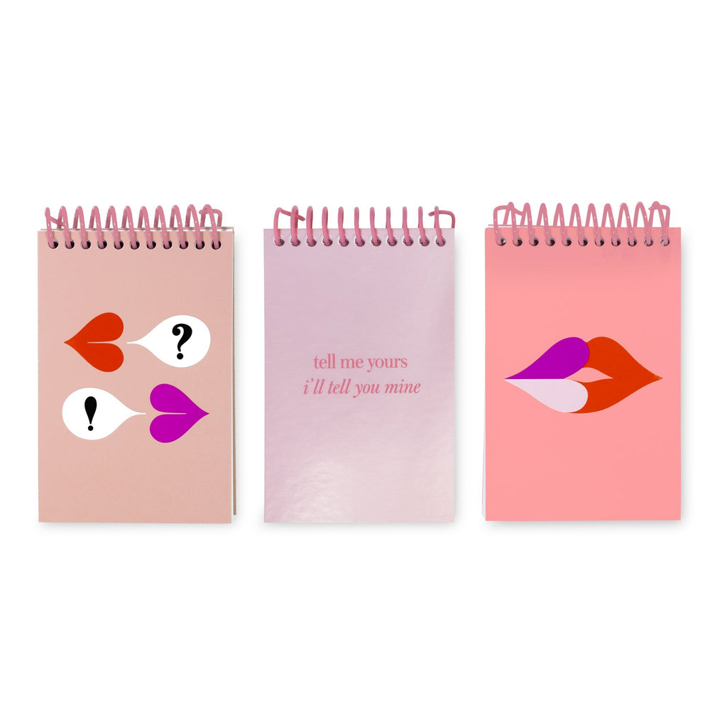 kate spade new york spiral notepad set, heart lips
