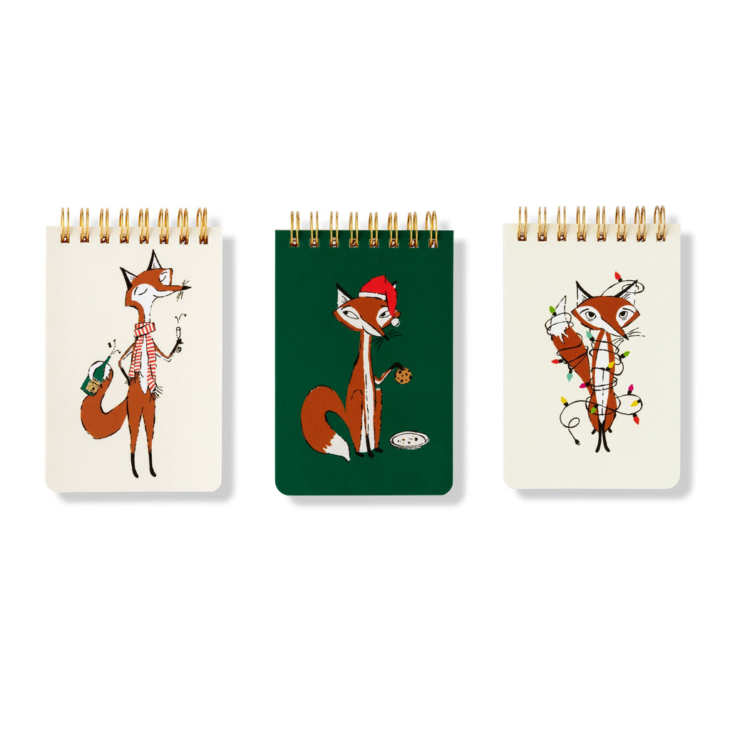 kate spade new york Spiral Notebook Set, festive foxes