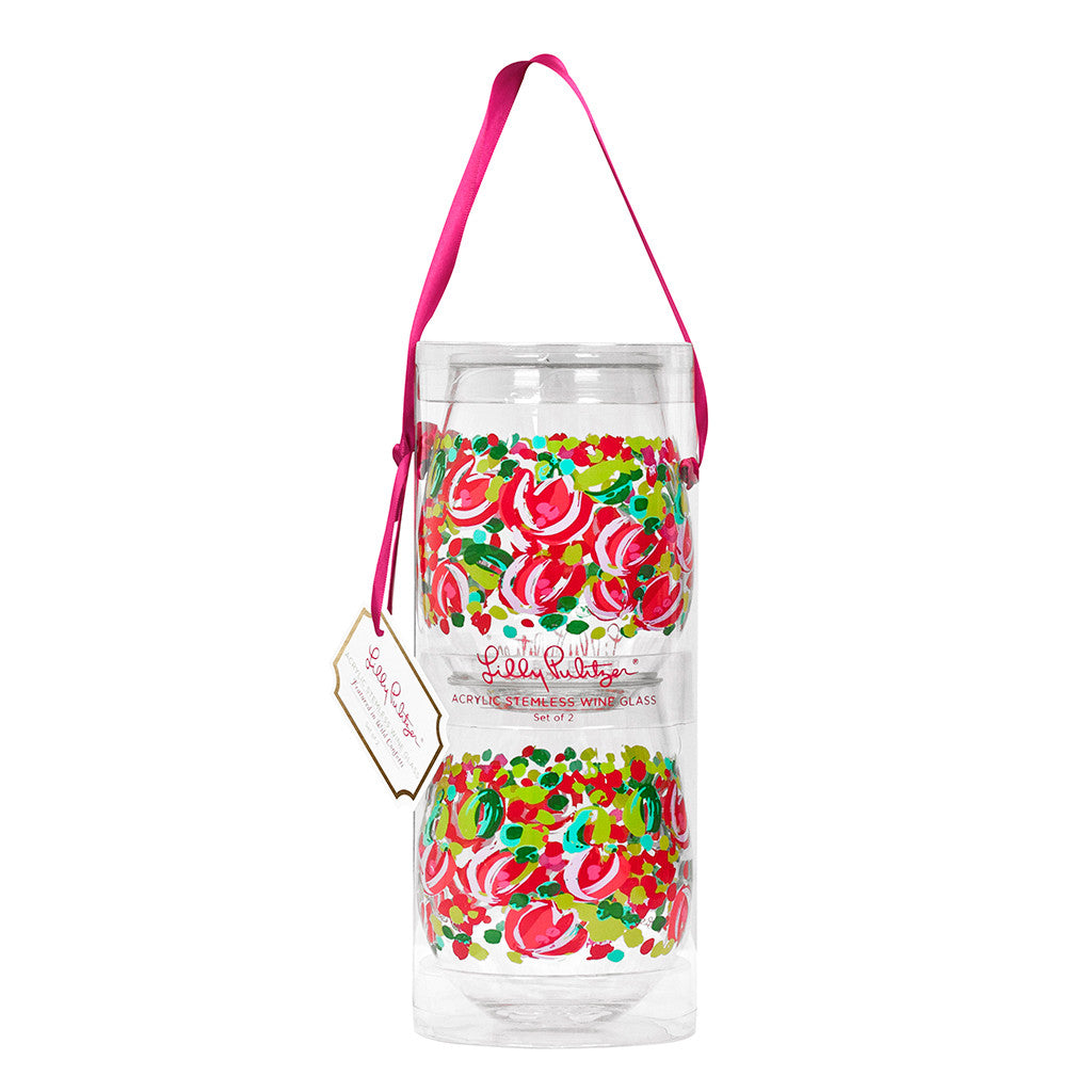 Lilly Pulitzer Acrylic Stemless Wine Glass Set - Wild Confetti - lifeguard-press