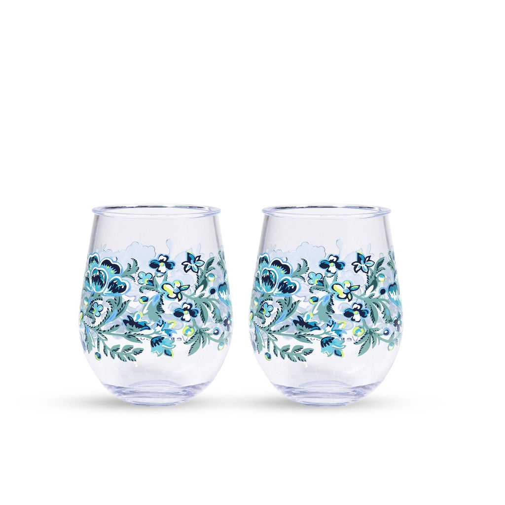 vera bradley stemless wineglass set, cloud vine