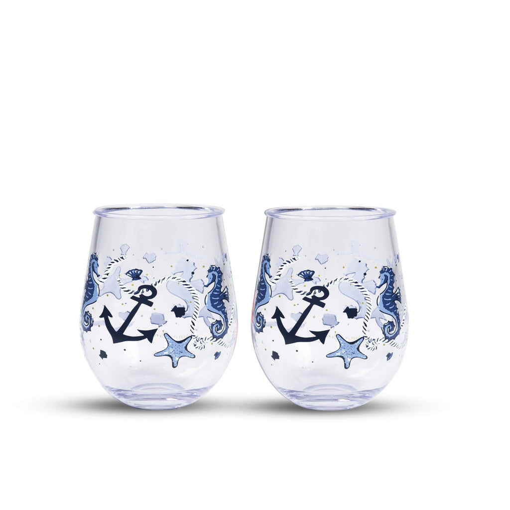 vera bradley stemless wineglass set, sea life