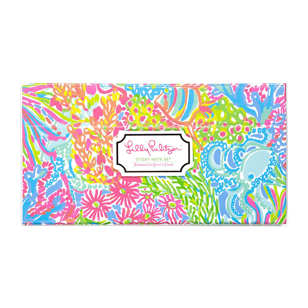 Lilly Pulitzer Sticky Note Set - Lover's Coral - lifeguard-press - 2