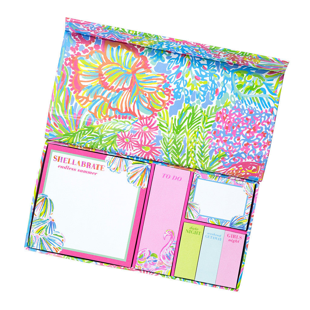 Lilly Pulitzer Sticky Note Set - Lover's Coral - lifeguard-press - 1