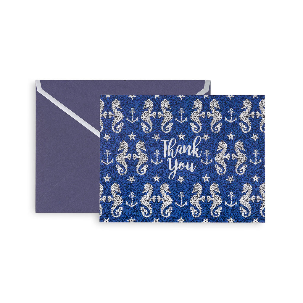 vera bradley thank you notecard set, seahorse of course