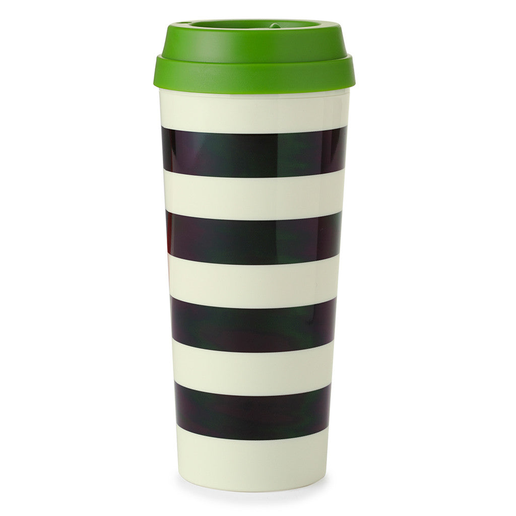 kate spade new york thermal mug 16 oz - black stripe - lifeguard-press