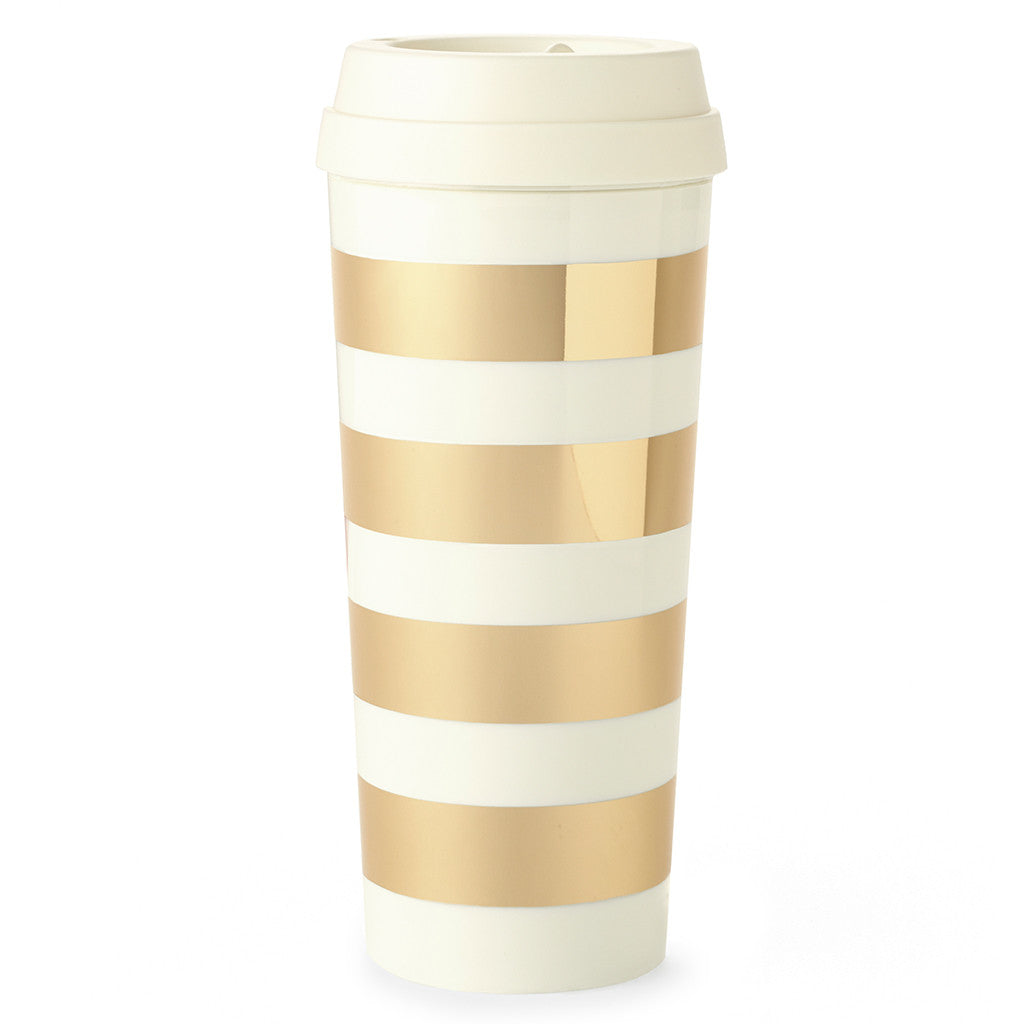 kate spade new york thermal mug - gold stripe - lifeguard-press