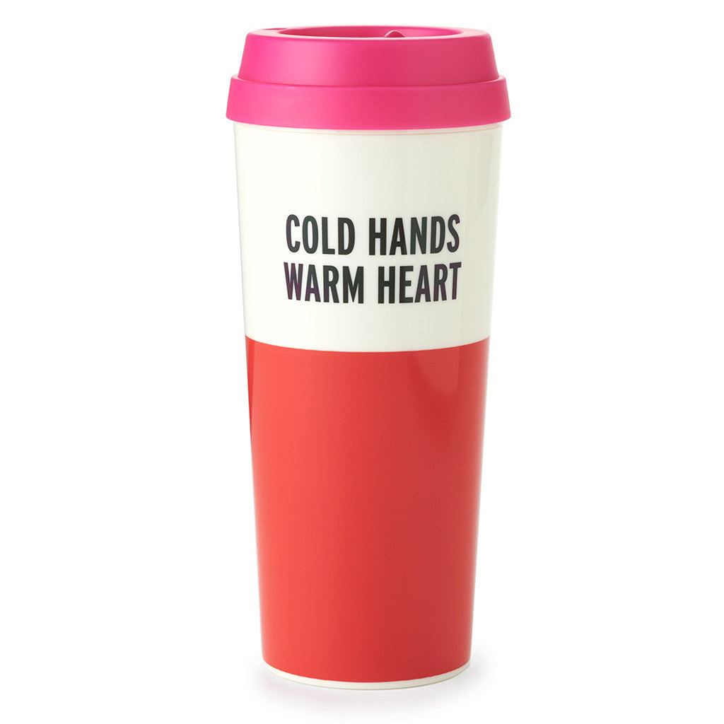 kate spade new york thermal mug 16 oz - cold hands warm heart - lifeguard-press