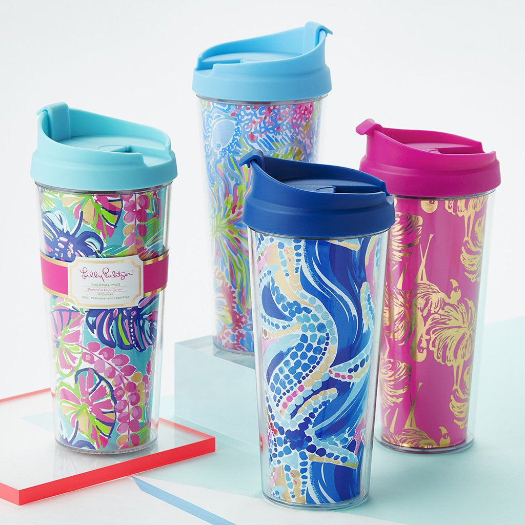 Lilly Pulitzer Thermal Mug - Lover's Coral - lifeguard-press - 2