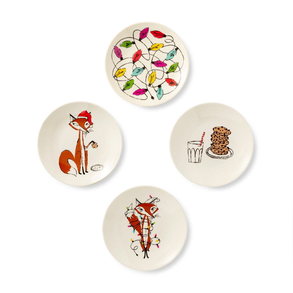 kate spade new york Tidbit Plates, festive foxes