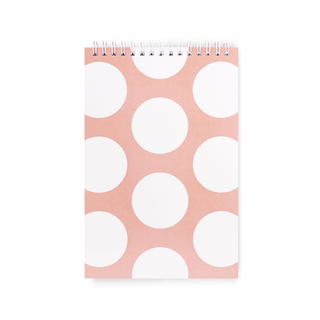 Spiral Notebook (Top), Peach Jumbo Dot