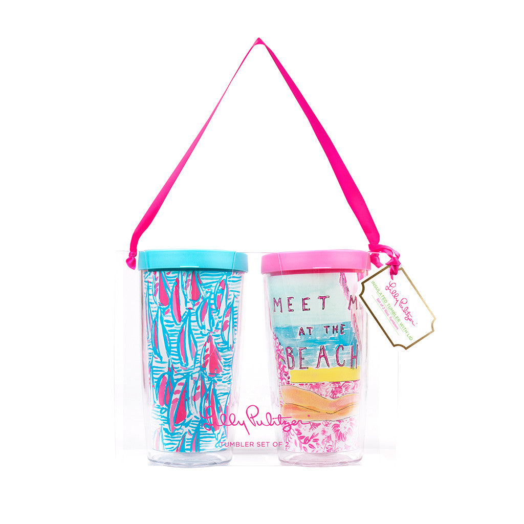 Lilly Pulitzer Insulated Tumbler with Lid Set - Red Right Return / Meet Me At the Beach - lifeguard-press - 1