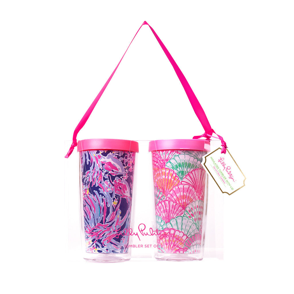 Lilly Pulitzer Insulated Tumbler with Lid Set - Shrimply Chic / Oh Shello - lifeguard-press - 1