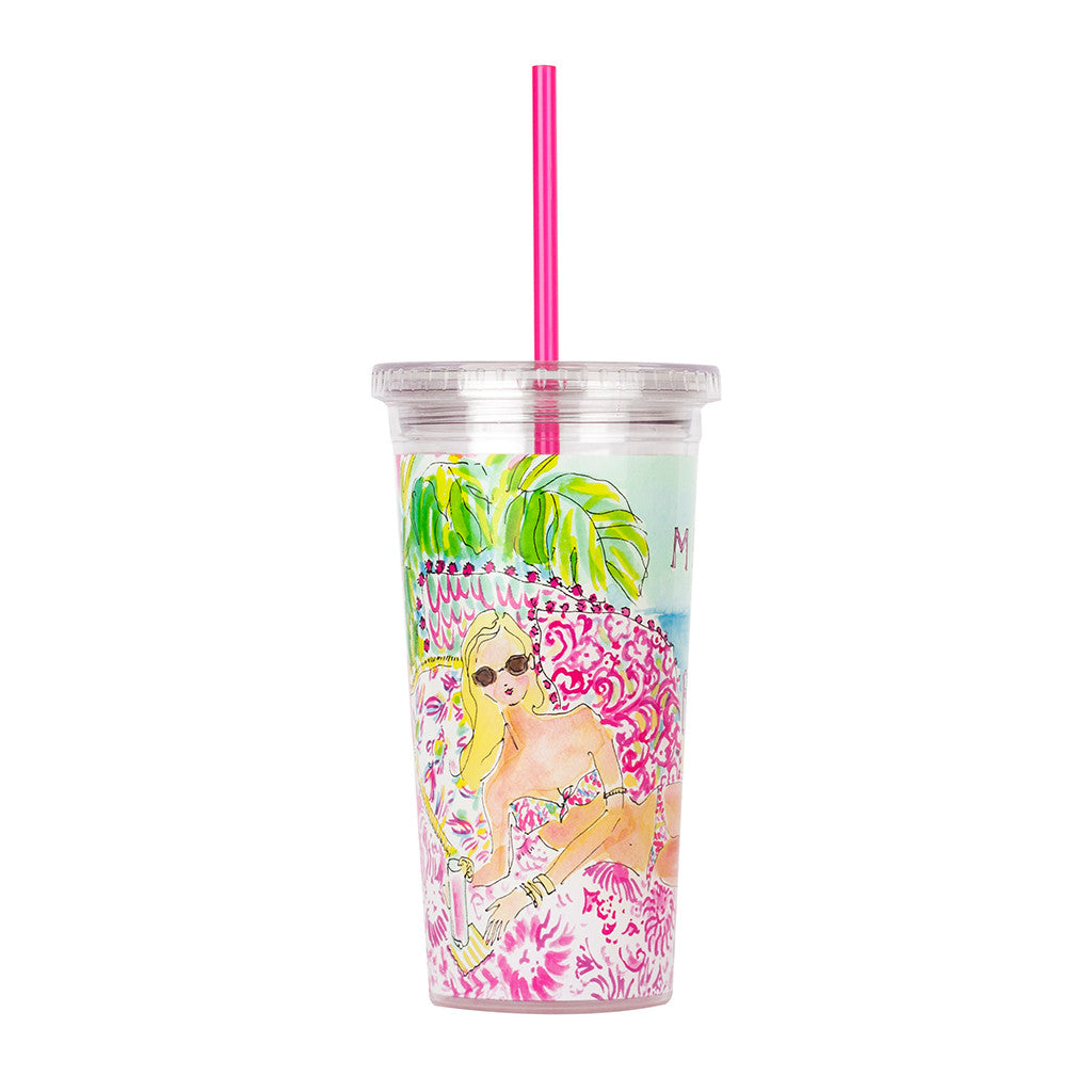 Lilly Pulitzer Reusable Cold Drink Tumbler - Meet Me At the Beach - lifeguard-press - 2