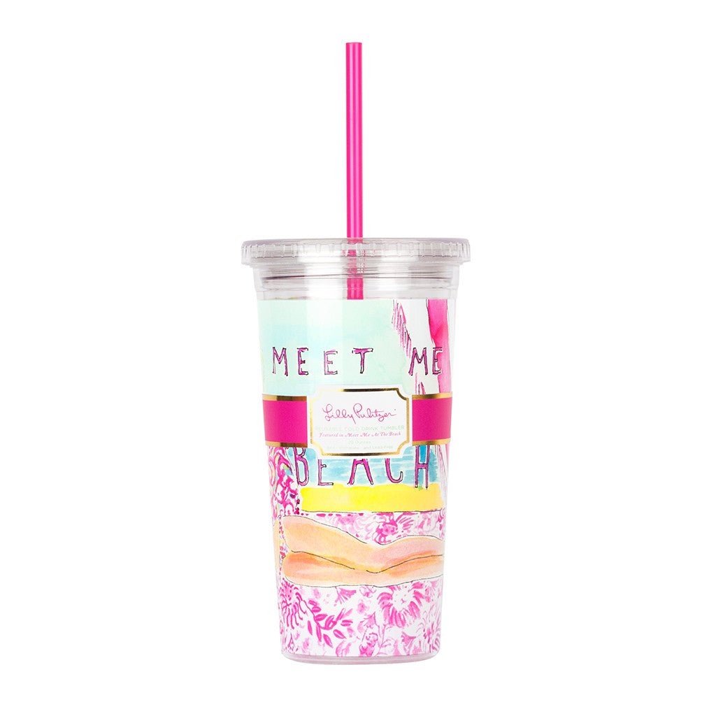 Lilly Pulitzer Reusable Cold Drink Tumbler - Meet Me At the Beach - lifeguard-press - 1