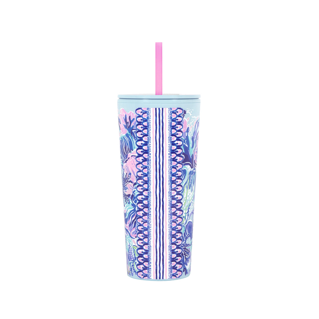 Lilly Pulitzer Tumbler With Straw, Shade Seekers