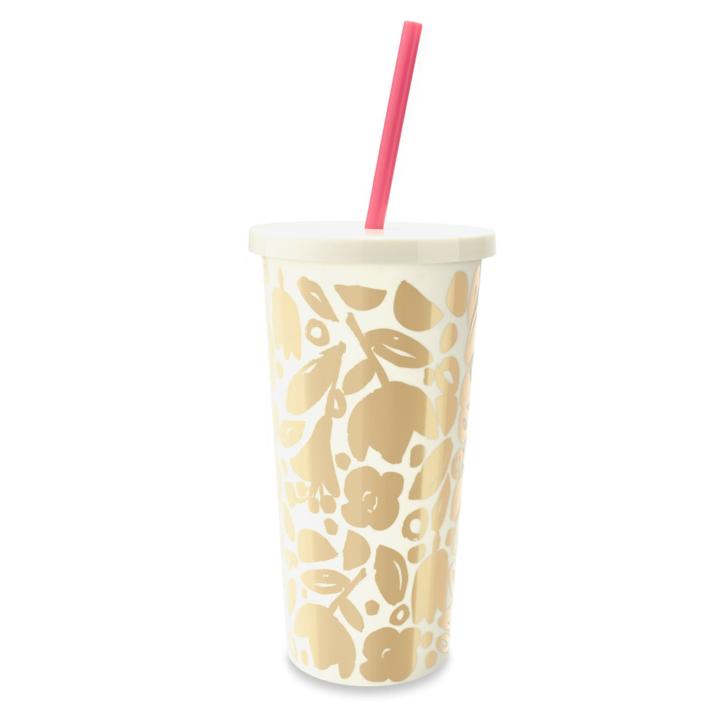 kate spade new york Tumbler With Straw, Golden Floral