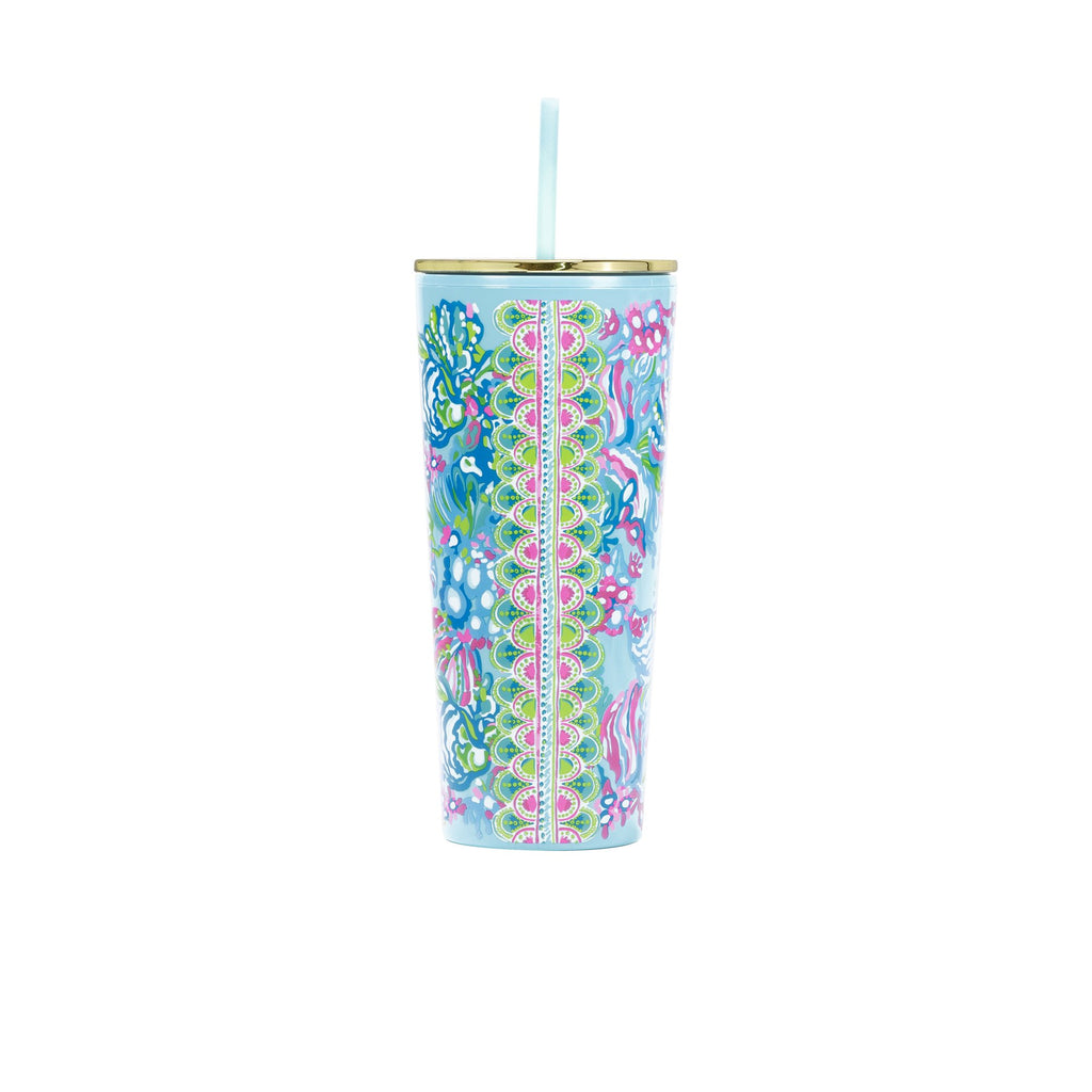 Lilly Pullitzer Tumbler with Lid, Aqua La Vista
