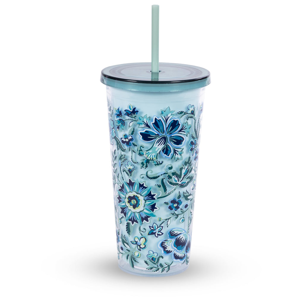 vera bradley double wall tumbler with straw, cloud vine