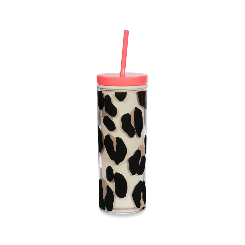 kate spade new york tumbler with straw, forest feline