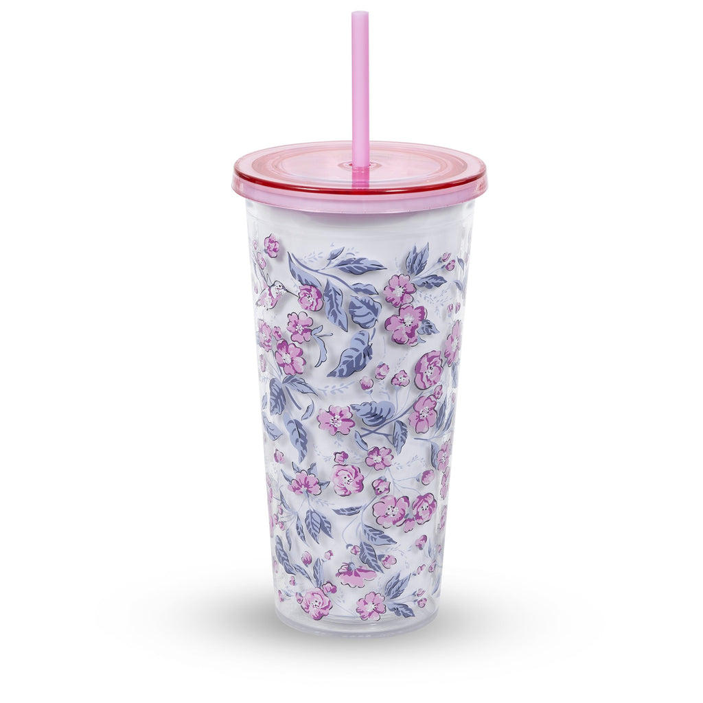 vera bradley double wall tumbler with straw, hummingbird ditzy