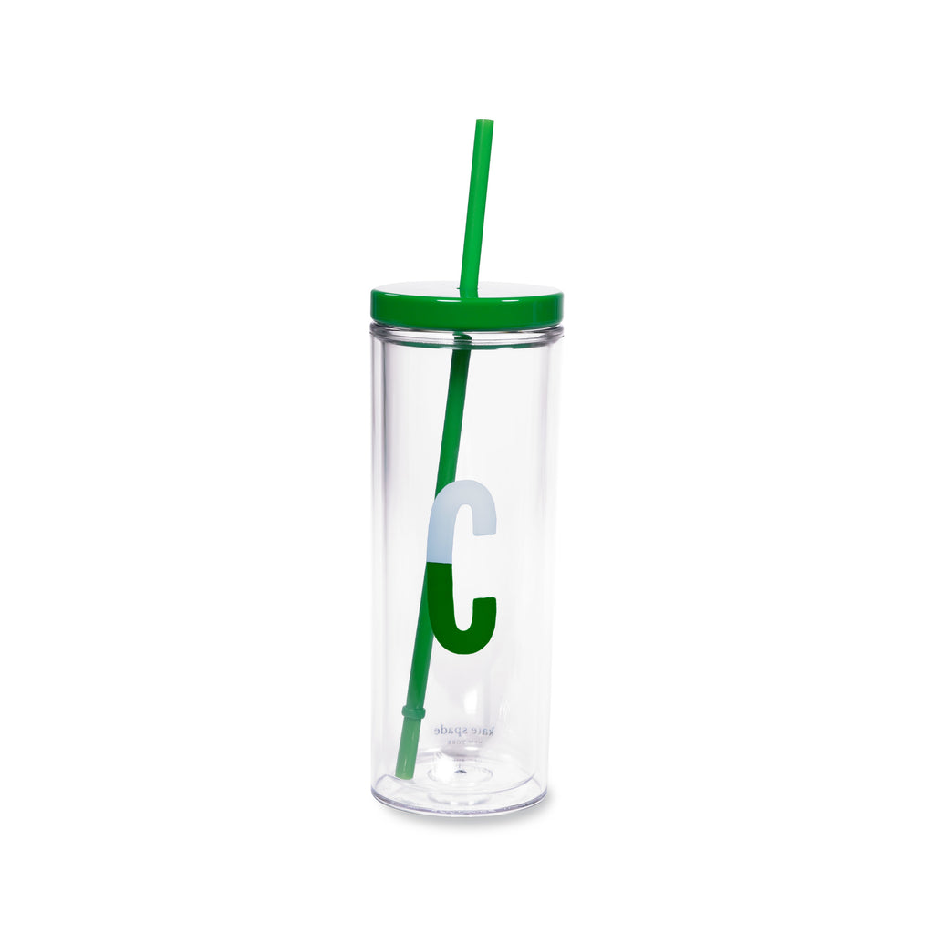 Initial Tumbler with Straw C, Sparks of Joy
