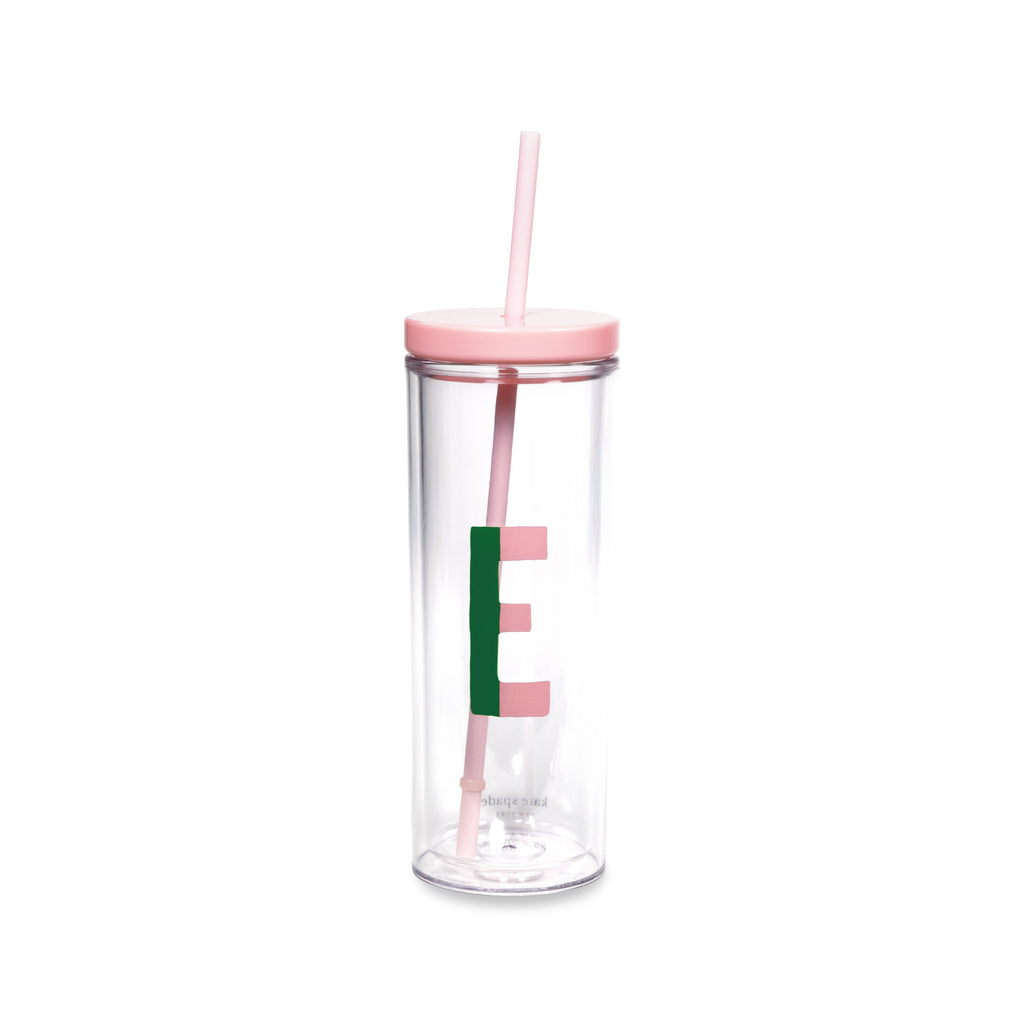 Initial Tumbler with Straw E, Sparks of Joy