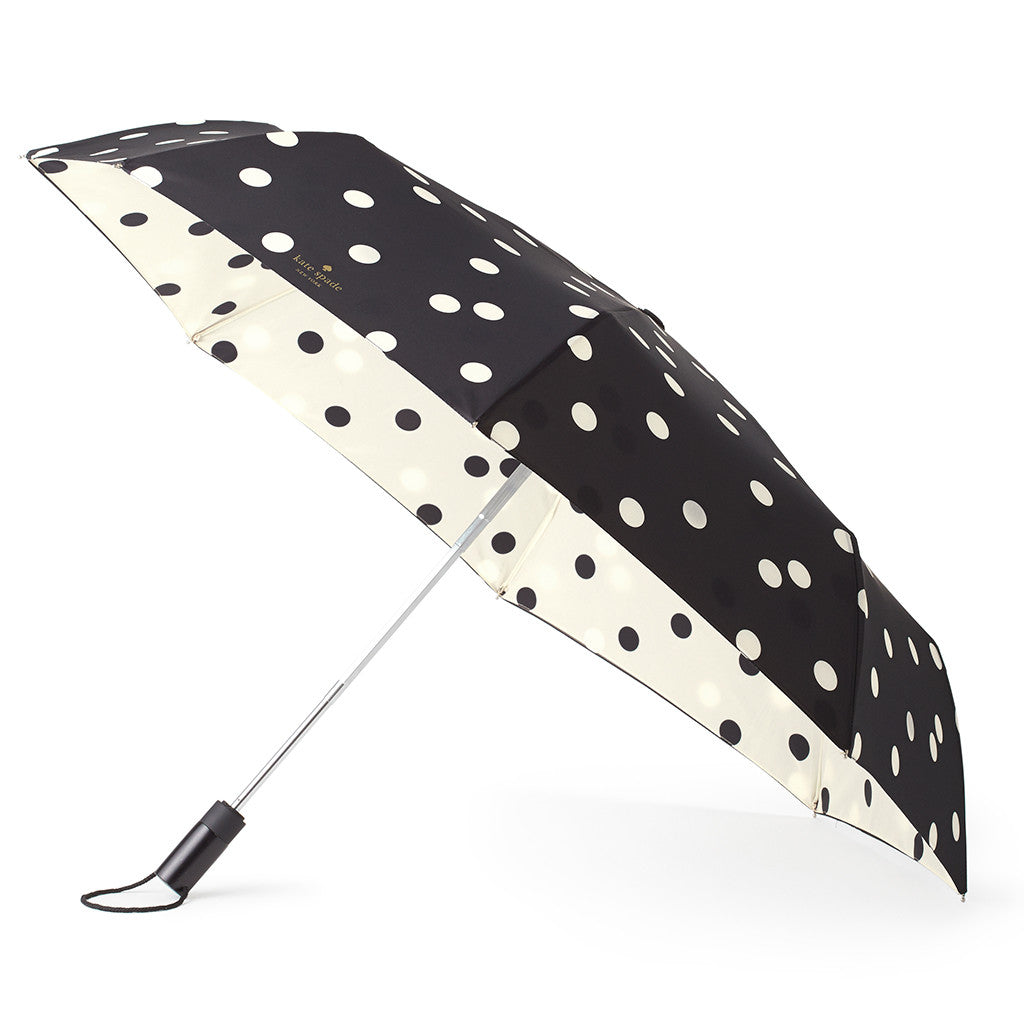 kate spade new york travel umbrella - black/cream deco dot - lifeguard-press