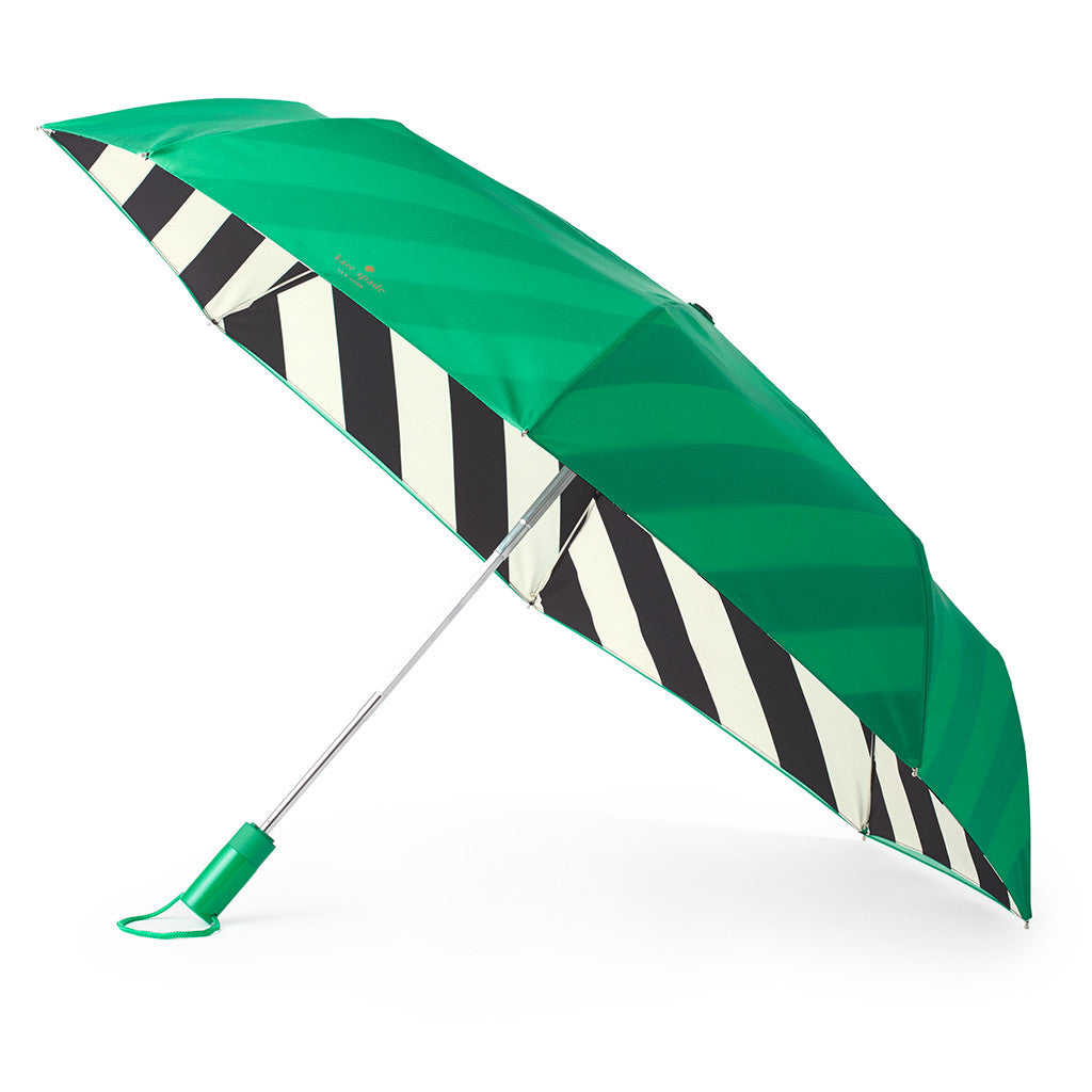 kate spade new york travel umbrella - green/black stripe - lifeguard-press