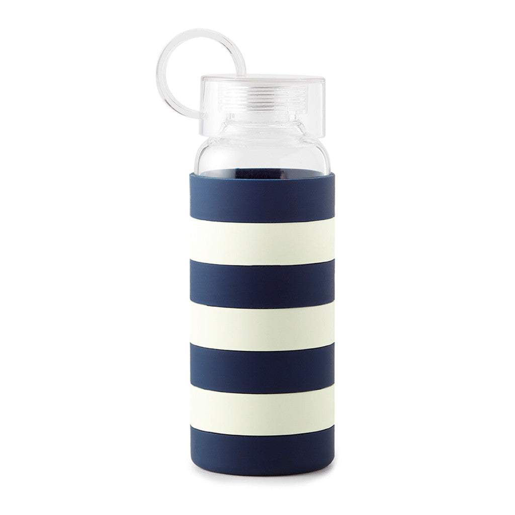 kate spade new york water bottle - navy rugby stripe - lifeguard-press